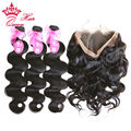 Queen Hair 3 Bundles With 360 Full Lace Frontal Bleached Knots Body wave 4Pcs Lot Brazilian Hair Virgin Human Hair Shipping Free