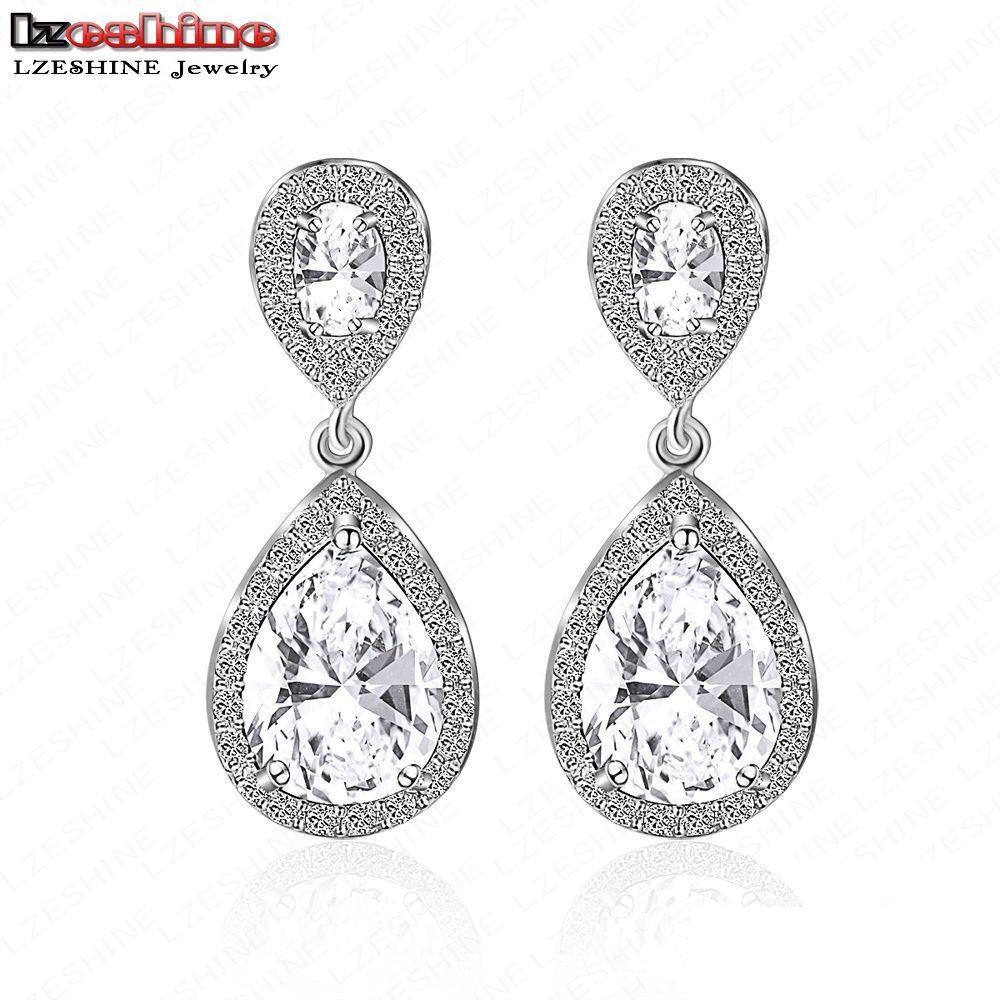 LZESHINE Luxury Stub Earrings Withe Stones For Women AAA Cubic Zircon Wedding Bridal Din ...