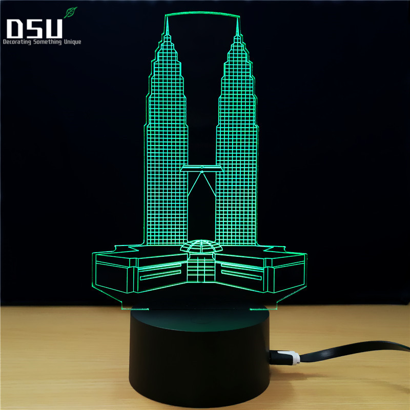 Twin Towers Building 7 Color Lamp 3D Visual Led Night Lights For Kids Touch USB Table Lampe Baby Sleeping Nightlight
