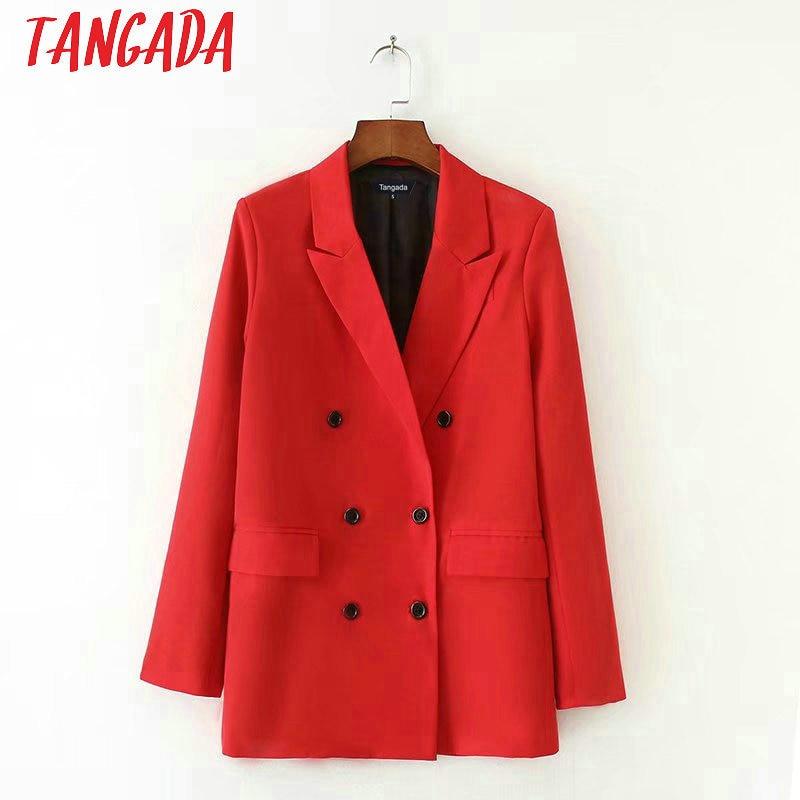 Tangada Women Red Suit Jacket Formal Blazer Double Breasted Pocket Women Blazer Work Office Business Suit Outwear Sx01