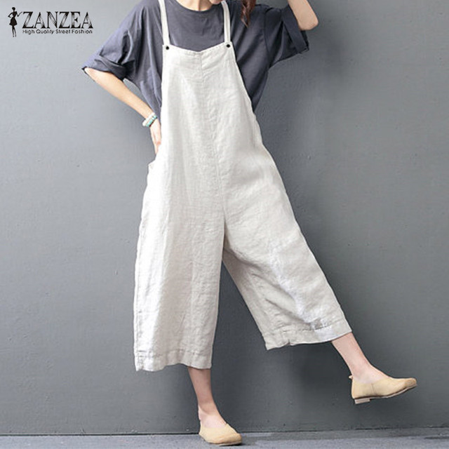 c6a1192395d2 ZANZEA Rompers Womens Jumpuit 2018 Casual Loose Sleeveless Backless Pants Solid  Playsuits Vintage Strapless Overalls Plus Size