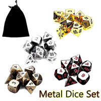 7Pcs Set Antique Metal Polyhedral Dice Poker Car Role Playing Game Party WIth Bag Playing Board
