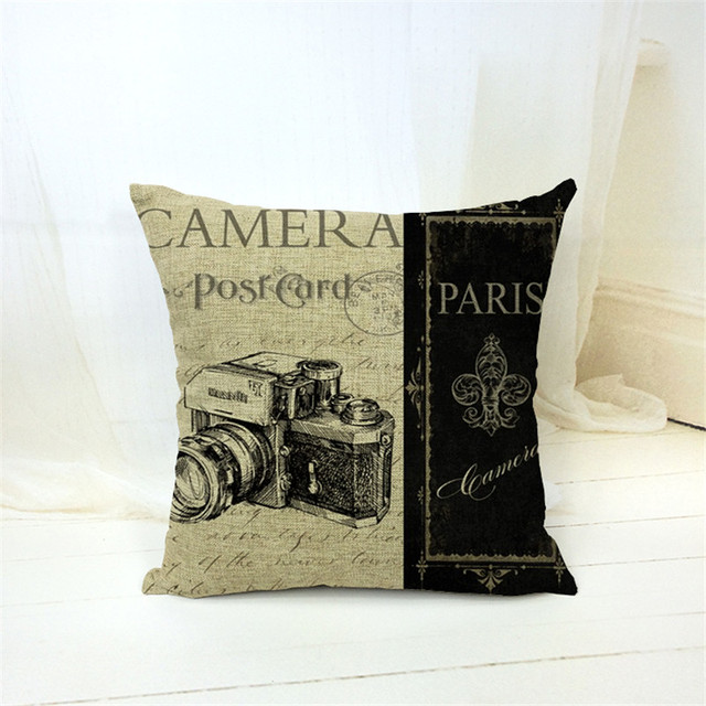 Retro Collection Decorative Cushion Cover – Cotton Linen, 45x45cm