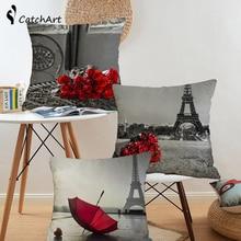 Фотография Vintage London Paris Cushion Cover Flower Rose Throw Pillow Cover for Sofa Home Textile Car Pillowcases Londen Throw Pillows