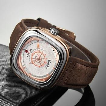 2020 New Mens Watches KADEMAN Top Brand Leather Waterproof Sport Date Square Quartz Watch For Men Wristwatch Relogio Masculino