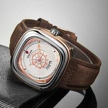 2020 Nieuwe Heren Horloges Kademan Top Merk Lederen Waterdichte Sport Datum Vierkante Quartz Horloge Voor Mannen Polshorloge Relogio Masculino