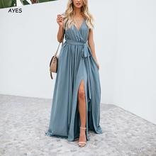 Summer Dress Women Solid Sexy Dress Side Slit Deep V Neck Elegant Dress Spaghetti Strap Female Beach Party Dresses Vestidos