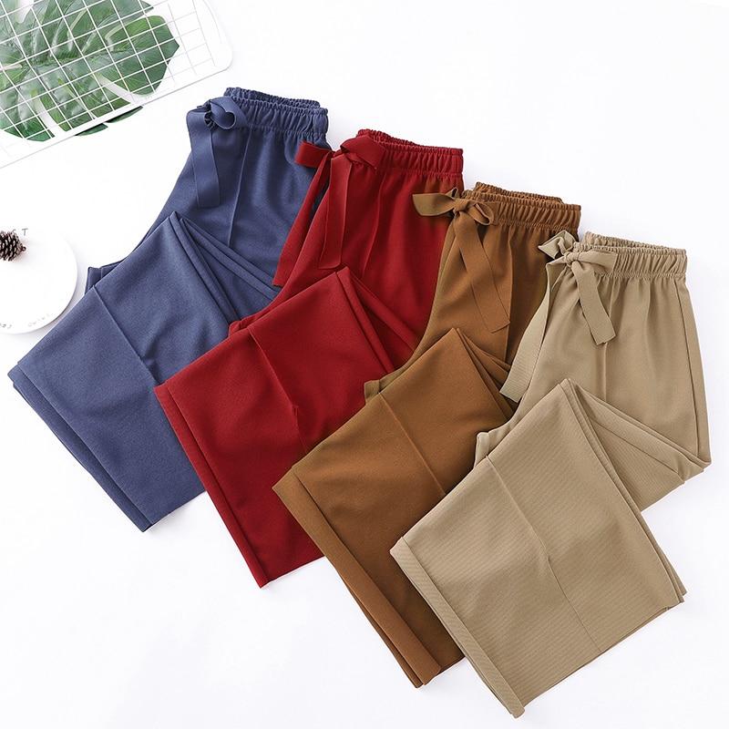 2019 Summer Plus Size 5XL Women Trousers Split   Wide     Leg     Pants   Casual Loose Anklet-length Capris Bow Sashes Elastic Wasit   Pant