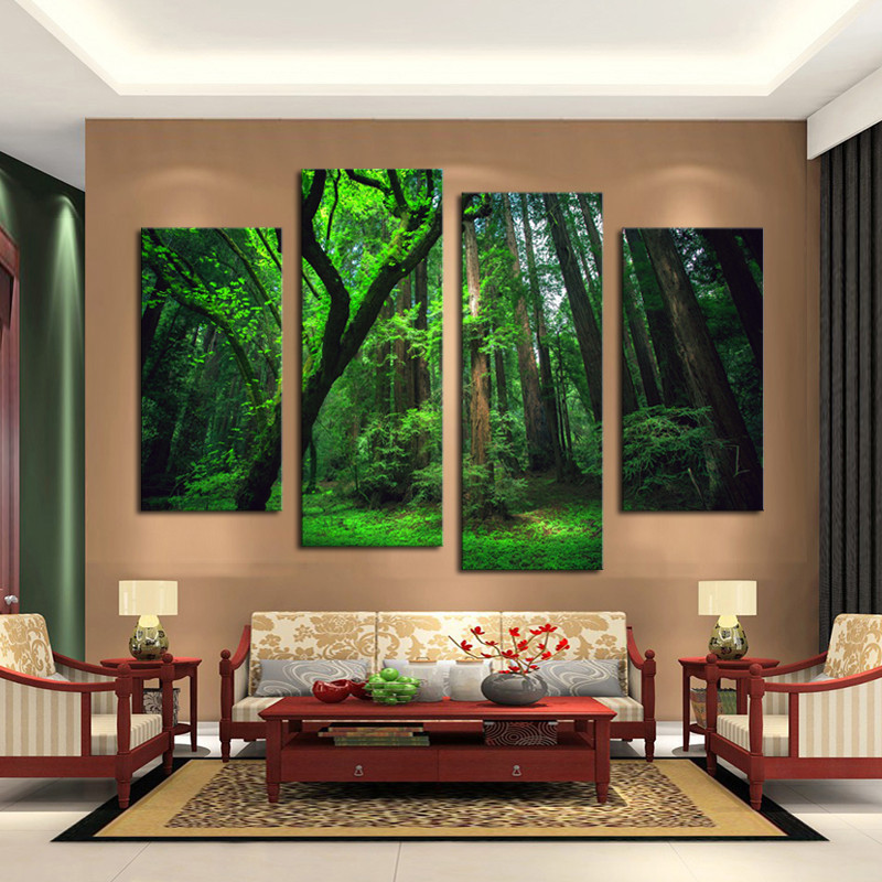 4 Piece Beautiful Green Tree Forest Wall Painting Modern