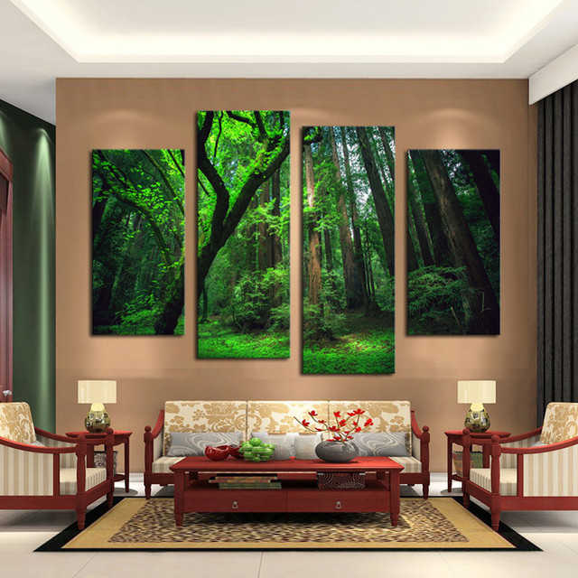 4 Piece Beautiful Green Tree Forest Wall Painting Modern Home Decor Living Room Canvas Art