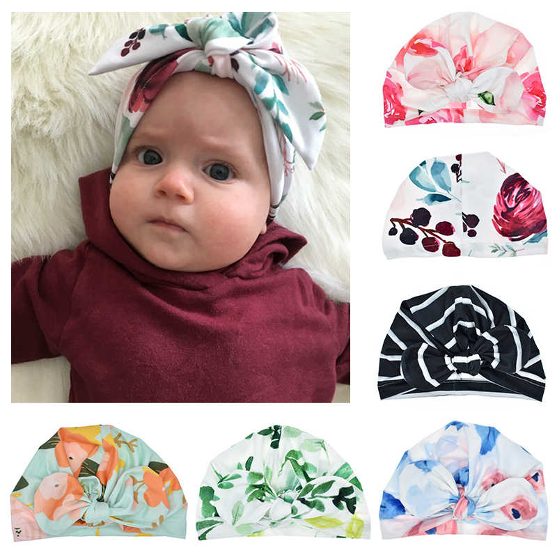 Cute Baby Caps Unisex Bow Hat Flower Print Hats Elastic Baby Turban Cap Infant Clothing Accessories 6 Colors Optional For Infant