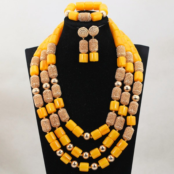 Luxury Nigerian Wedding Beads Jewelry Set Traditional African Wedding Bridal Statement Necklace Set Dubai Free Shipping CNR819