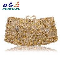 Flap Flower Metal Sparkling Gold Women Crystal Clutch Evening Bags Bridal Diamond Clutch Purse Wedding Party Minaudiere Handbag