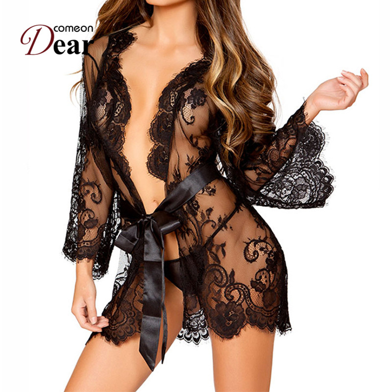 Comeondear Sexy Lingerie Robe Dessous Sexy Hot Erotic Long Sleeve Lace See Though Ropa Interior Sexy Erotic Costumes RA80534