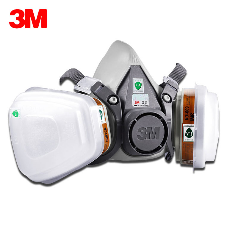3M 6200 Respirator Gas Mask 7 Suit 3M 6001 Chemical Filter Paint Spray Anti-Fog Haze Pesticide Formaldehyde Particles Half Mask 3m 6200 anti virus dust respirator mask genuine universal variety filter main mask particulates paint toxic gas half ski mask