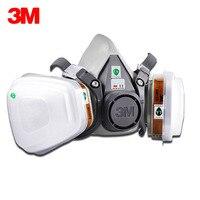 3M 6200 Respirator Gas Mask 7 Suit 3M 6001 Chemical Filter Paint Spray Anti Fog Haze Pesticide Formaldehyde Particles Half Mask