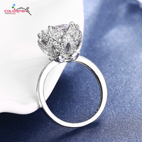 COLORFISH Round 6 5 Carat Silver Ring For Women Luxury Party Jewelry Lotus Flower Authentic 925