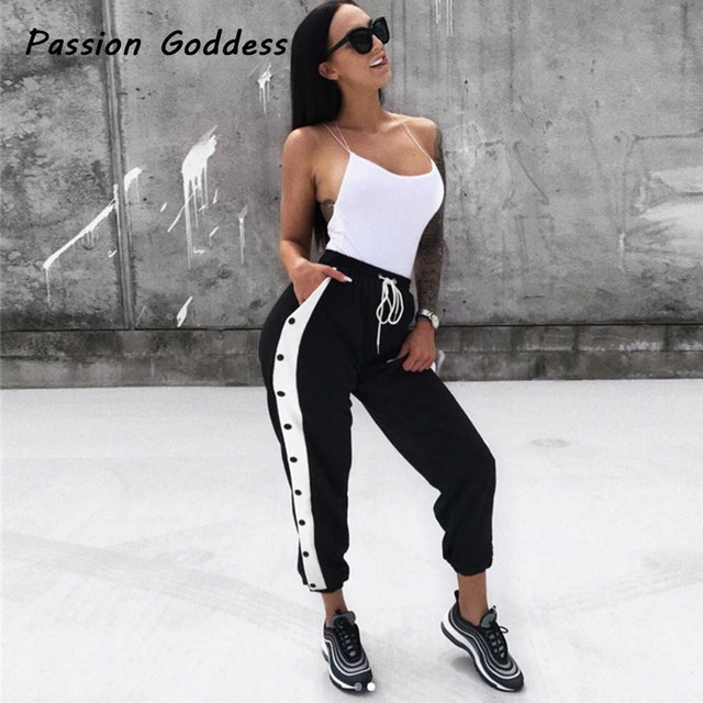 Moda europea mujeres lado hebilla raya sudor Pantalones harem cordón pantalones  sueltos Pantalones Femme pantalon mujer 0add4dc4dfce