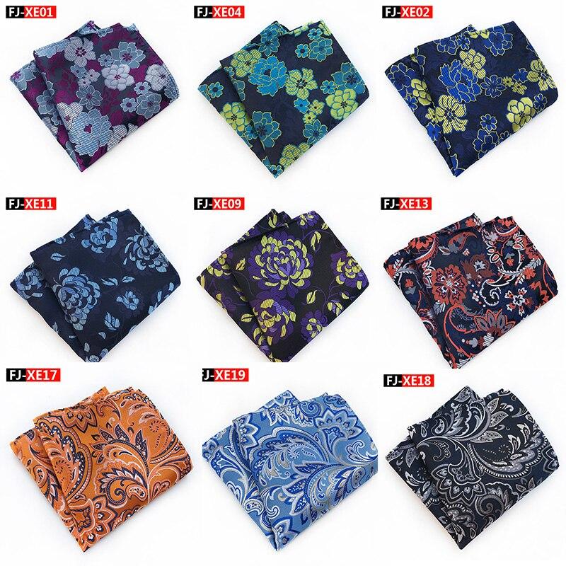 New 25*25cm Silk Flower Floral Handkerchief Jacquard Weave Pocket Square Wedding Party For Men Fashion Mens Suit Pocket Squares