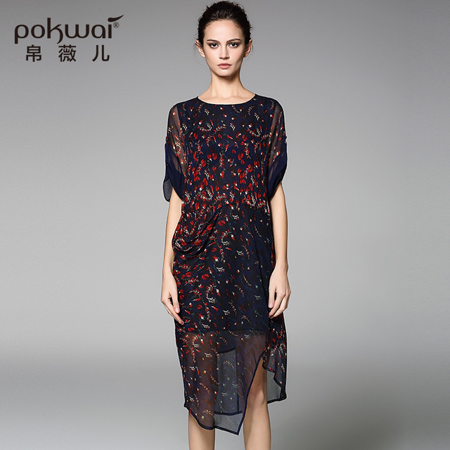 POKWAI Vintage Summer Silk Dress Women Fashion High Quality 2017 New Arrival  Half Sleeve O-Neck Retro Asymmetrical Dresses