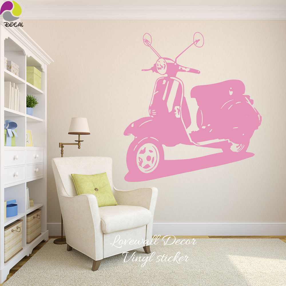 Italy Vespa Motorcycle Wall Sticker Living Room Bedroom Rome Holiday Autobike Wall Decal Kids Room Baby