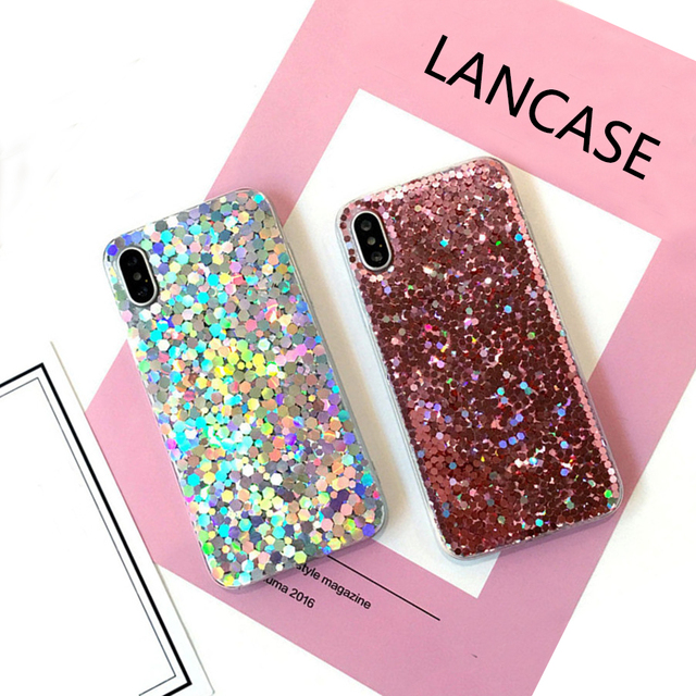 outlet store 52761 5a364 US $2.69 20% OFF LANCASE Case for iPhone X Case Bling Glitter Discolored  Rainbow Silicone TPU Soft Cover for iPhone X 8 7 6 6s Plus Case Sparkles-in  ...