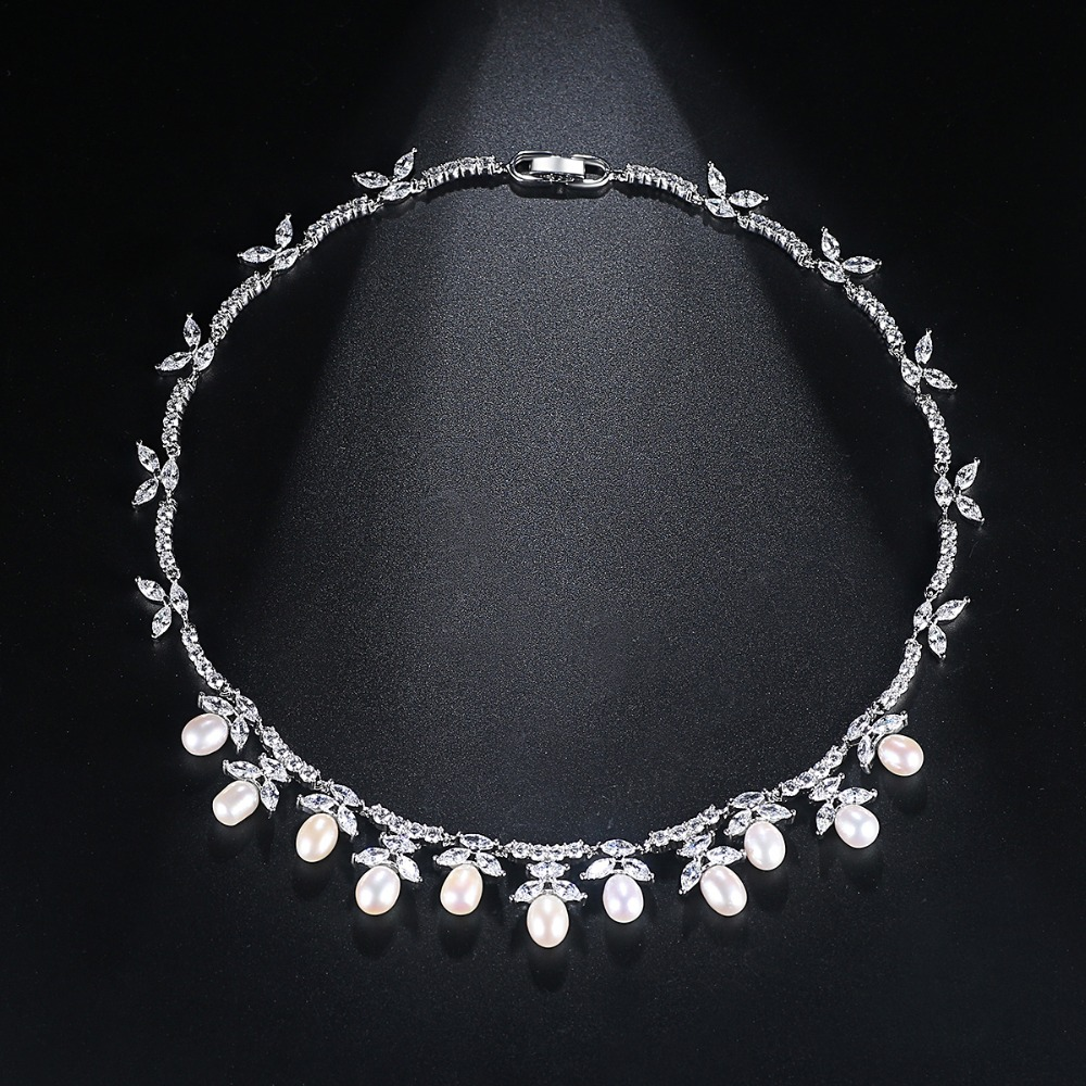 LUOTEEMI couleur argent collier de perles d'eau douce collier ras du cou bijoux de mariage ensembles accessoires réglage Invisible CZ pour Valentin - 3