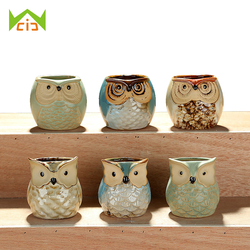 Wcic ceramic owl flower pot small clay pot succulent for Small clay flower pots