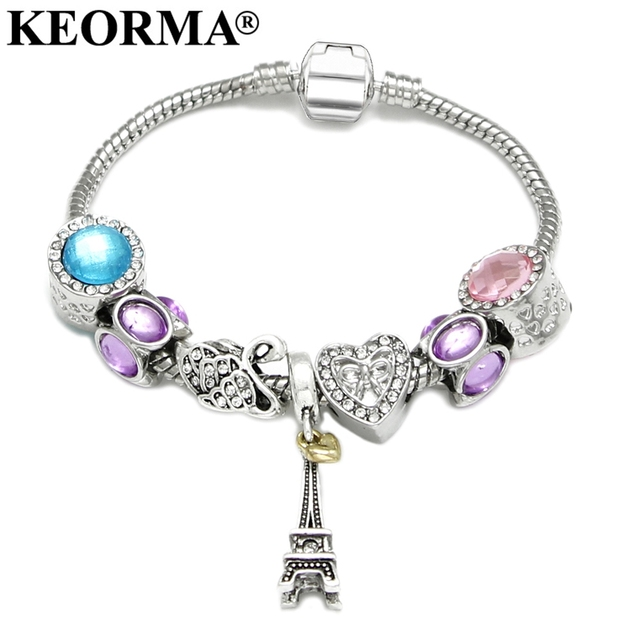 Keorma Antique Silver Color Eiffel Tower Charm Bracelet Mixed Crystal Heart Beads Bangle