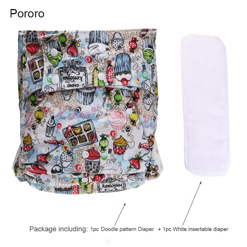 1Set Adult Diaper Print Washable Cloth Diaper Doodle Pattern Waterproof Leak-proof Snap Size Adjustable Elderly Care Pants D50