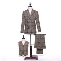 Khak Plaid Men Slim Fit Wedding Suits Groom Tuxedos Groomsmen Formal Suit Lapel (jacket + pants + vest) custom made
