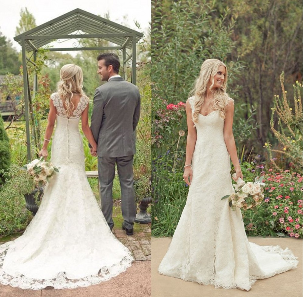 Country Style Vintage Lace Beach Wedding Dresses 2014 Cap Sleeves ...