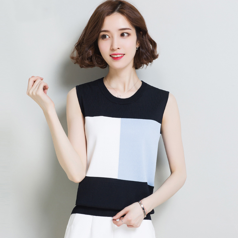 Vest Camisole Sling Stretch Knit O-Neck Sexy Fashion Women Ladies Slim Casual with Strips