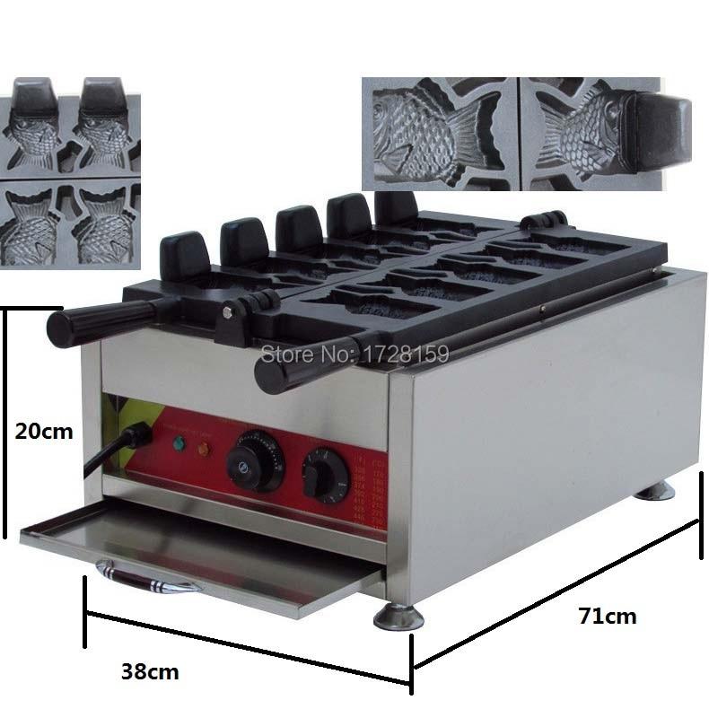 Gaufrier de forme de poisson de crème glacée avancée de 5 pièces, machine de crème glacée de poisson de gaufre
