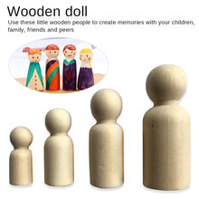 50pc (35,43mm,55mm,65mm) Wooden Peg Dolls Natural Unfinished DIY Turnings-Ready Paint-Waldorf Girl Baby Doll Teether
