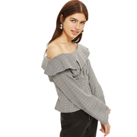 Grey Long Sleeve Rolle Neck Off The Shoulder Plaid Blouses Women Ladies Vintage Sexy Oversize Slim