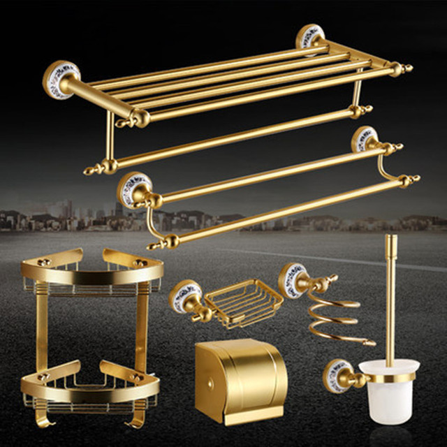 brushed gold bathroom accessories rose gold aluminum brass brushed bathroom accessories antique gold product porcelain bathroom sets gh aliexpresscom buy
