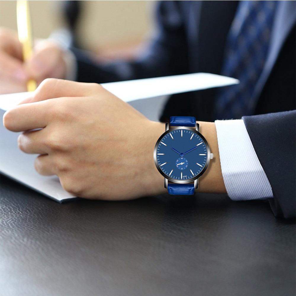 Fasion Men Watch Sport Fashion Wristwatch Montre Homme Genuine Leather Relojes Hombre 2018 Quartz Male Business Watch Clock B50