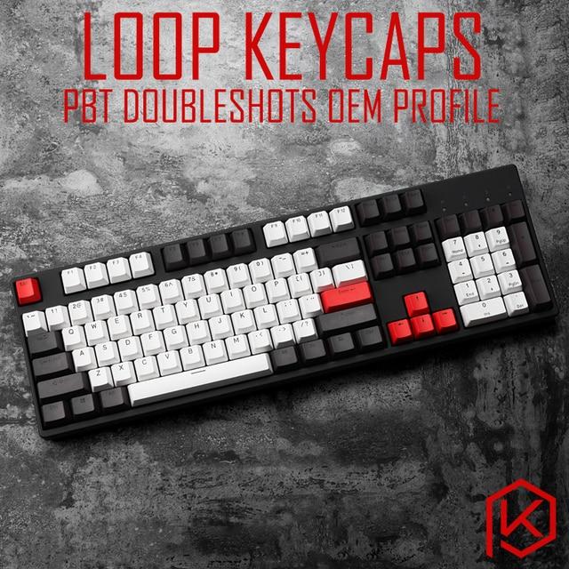 US $27 9 |loop pbt doubleshot keycaps oem for mechanical keyboards grey  white red gh60 poker 87 tkl 104 108 ansi corsair k70 iso razer-in Keyboards