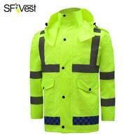 SFVest Флюоресцентный светоотражающий желтый отражающий костюм для дождя светящийся защитный дождевик