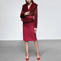 Новинка 2018 года зимние женские костюмы Европейская и американская мода тонкая талия Мех животных короткое пальто + один шаг PU юбка из двух
