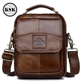 Genuine Leather Bag Messenger Bag Men Shoulder Handbag leather Crossbody Bags For Men Luxury Handbags 2019 Flap Pocket KSK