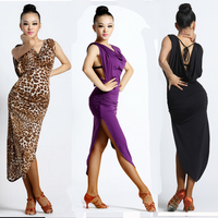 Sexy Slit On Side Open Back Latin Salsa Dress Black Purple Red Zebra Leopard Ballroom Latin