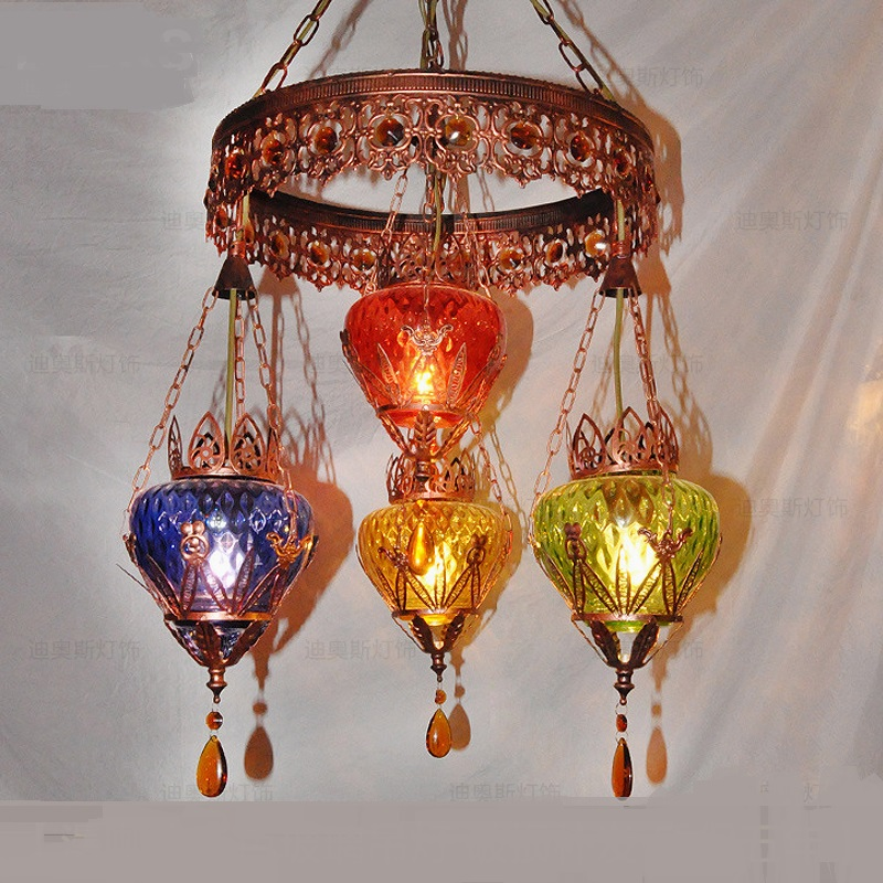 Color Glass Creative Bohemia pendant lights American Retro Iron pendant lights Bar Shop Western Restaurant lamps ZA626 ZL54 tiffnay beautiful retro bar entrance lamps club pendant lights western style food restaurant art mosaic glass pendants df136