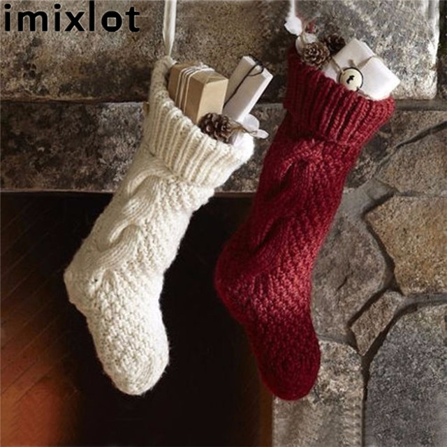 imixlot christmas stocking knitted christmas gift bag stocking ornaments women girls christmas socks christmas gift candy