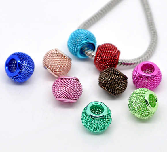 European Style Charm Alloy Beads Round Mixed About 12mm Dia,About 12mm x 10mm ,Hole: Approx 5mm,2 PCs new