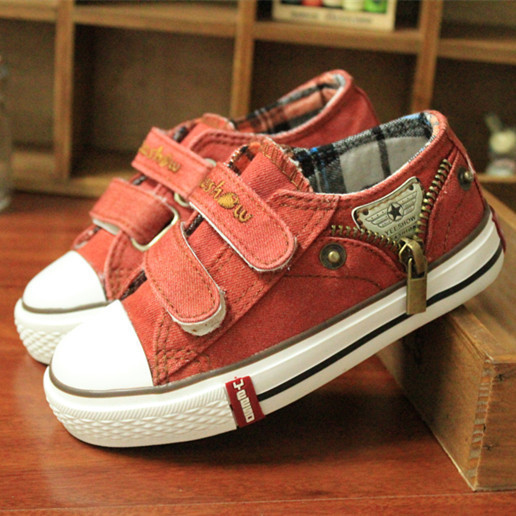 14 kinds New Arrived Size 25-37 Children Shoes Kids Canvas Sneakers Boys Jeans Flats Girls Boots Denim Side Zipper Shoes 4