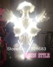 Rhinestones Crystals Feather Wings Light-up Bra Stage Outfit Light / Led Costume Lighting / Led Light Suit
