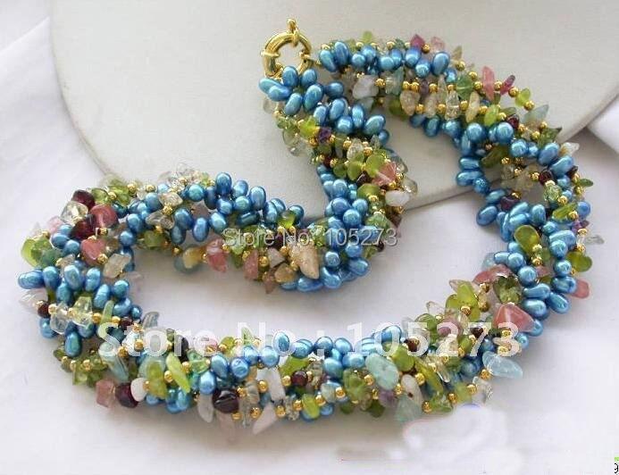 6Row 18 pouces Olivine cristal détritus bleu collier de perles AA 4-8 MM belle multicolore perle bijoux nouveau livraison gratuite FN1638