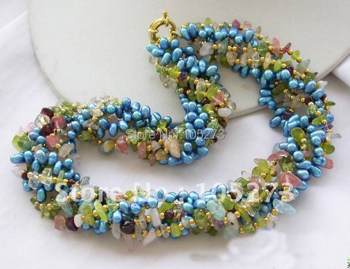 6Row 18inchs Olivine Crystal Detritus Blue Pearl Necklace AA 4-8MM Beautiful Multicolor Pearl Jewelry New Free Shipping FN1638